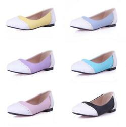34-54 Womenand039s Low Top Round Toe Flats Brogue Loafer Ballet Casual Shoes Pumps D