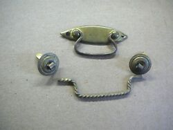 Lot Of 2 Antique Small Brass Bail Pulls - Jewelry Box Etc - 2-3/8and 2-3/4