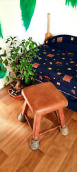 Leather Gym Stool Collectable Antique School Furniture Gym Class