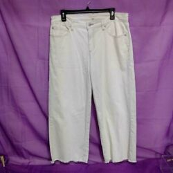 Eileen Fisher White Wide Leg Cropped Frayed Jeans Size 12 Wfd