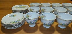 Beautiful Vintage Clarence Bone China Tea Cups And Saucers 25 Pieces Total