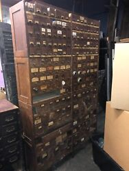 Large 4 Section Hardware Store Apothecary Cabinet C1890 Palmer Ma 81/50.5/12.5andrdquo