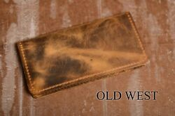 Checkbook Cover Leather   Handmade   Rugged Boot Leather   Real Leather Old West