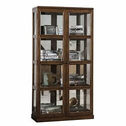 Transitional Wooden Curio Cabinet With Two Glass Doors And Four Shelves, Oak ...