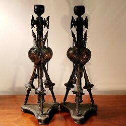 French Napoleon 111, Pair Of Bronze Military Trophies Candlesticks