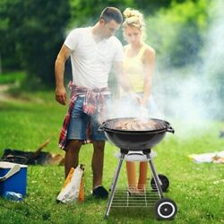 Portable Charcoal Grill 18-inch Diameter Bbq Grill Charcoal Stove On Wheels