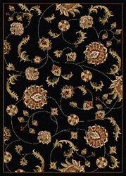 8x11 Radici Black Swirls Vines Blossoms Petals Floral 1835 - Aprx 7and039 9 X 11and039