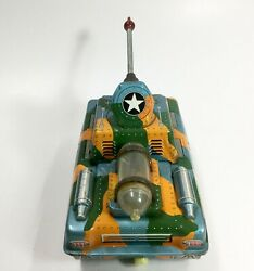 1960s Vintage Army Tank Tin mystery Action + Friction Running Japan