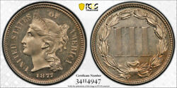 1877 3cn Three Cent Nickel Proof Pcgs Pr 64 Pf Only Issue Key Date Light Came...
