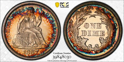1867 10c Seated Liberty Dime Pcgs Pr 64 Proof Key Date Gorgeous Colorful Tone...