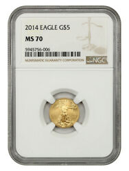 2014 Gold Eagle 5 Ngc Ms70 - 1/10oz Of Gold - American Gold Eagle Age