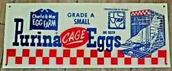 Charlie And Max Egg Farm,purina Texas Advertising Checkerboard Chicken Egg Sign