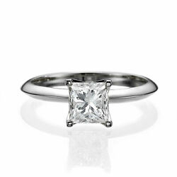 1 1/4 Ct Solitaire Diamond Engagement Ring Princess Cut F/si1-si2 14k White Gold