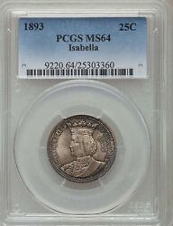 U.s. 1893 Isabella Quarter-dollar Silver Uncirculated Coin Certified Pcgs-ms64