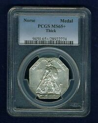 U.s. 1925 Norse-american Commemorative Medal Uncirculated Certified Pcgs-ms65+