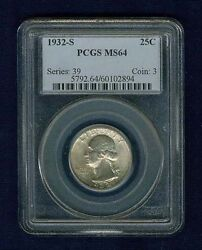 1932-s Washington Quarter / 25 Cents, Choice Uncirculated Certified Pcgs-ms64