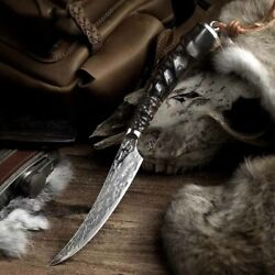 Rare Handmade Japanese Damascus Steel Knife Outdoor Tactical Tool Camp Unique