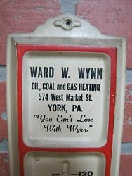 Ward Wynn Oil Coal Gas Heating York Pa Old Tin Advertising Thermometer Sign