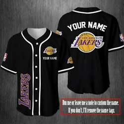 Hot Custome Name Los Angeles Lakers Fan Made Personalized Custom Baseball Jersey