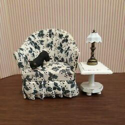 Dollhouse Miniatures 112 Chair Table Lamp And Cat