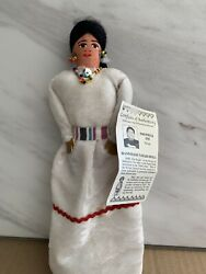 Vintage Native American Navajo Cloth Doll With Beaded Necklace Handmade