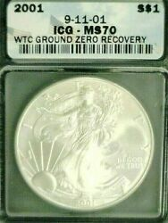 2001 Silver Eagle Wtc Trade Center Recovery 911 Icg Ms70 3687nam