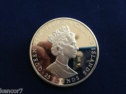 1985 Falkland Islands 25 Pounds 100 Years Self Sufficiency Silver Coin E4875