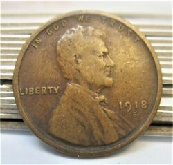 1918-s Lincoln Wheat Cent Penny - Nice Rare Coin
