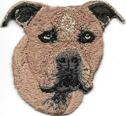 Brown Staffordshire Bull Terrier Portrait Dog Breed Embroidered Patch