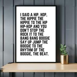 Rappers Delight Print Hip Hop Song Lyrics Quote No Frame Poster Home Decor