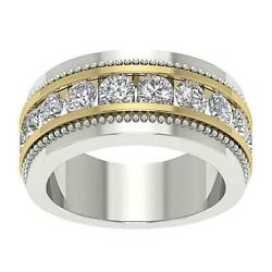 Menand039s Engagement Ring Si1 G 2.05 Ct Round Diamond Channel Set 14k Two-tone Gold