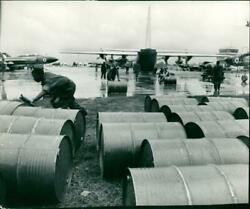 Oil Drums Being Unloaded From A Lockheed C-130 Herc - Vintage Photograph 1218457