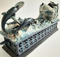 Vintage Mcm Jumping Dolphin Mechanical Coin Bank Cast Iron Heavy Metal Iron 9