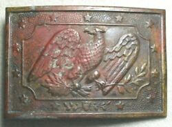About Perfect U.s. Militia Sword Belt Plate W/ The Original Applied Hook And Loop