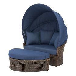 Outdoor Daybed 2-piece With Retractable Canopy Wicker Patio Garden Lounger