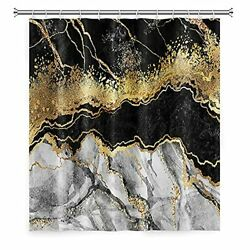 Lfeey Black And Gold Marble Shower Curtains For Bathroom Golden Cracked Lines...
