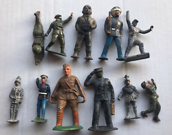 Lot Of 11 Vintage Cast Metal Lead Toy Soldier Military War Figures