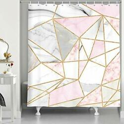 Marble Bathroom Shower Curtain Gold White Pink Geometric Surface Cracked Patt...