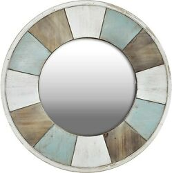 Cottage Timbers Accent Wall Mirror 27 Aged Teal/shabby White/natural Wood