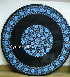 Turquoise Stone Inlay Work Patio Coffee Table Top Round Marble Dining Table 36