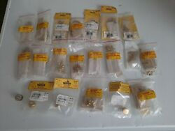 Lot Of 21 Vertex Solid Brass Hinges Box Feet Assortment Old Stick Free Shipping