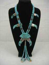 Navajo Bms Morenci Turquoise Sterling Silver Claw Necklace 1970's Pawn Jaclas