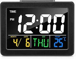 Digital Clocks for Bedrooms with Time Date Temperature Soft Light Snooze LED