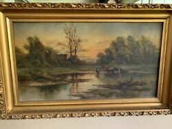 Antique Oil Painting Field Cows House Vintage 1890 Ish Unsigned Old Gold Frame