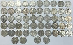 Us - Lot Of 54 Silver Half Dollars Inc.barber , Liberty , Franklin And Kennedy