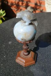 Rare 19th/early 20th C. Chinese Lavender Jade Bird On Globe With Rosewood Stand
