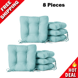 8 Pcs. Seat Cushions Chair Pad Outdoor Chair Patio Seats Cushion Ties Teal New