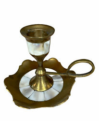 Brass And Mother Of Pearl Antique Chamberstick Candle Holder