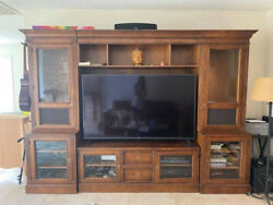Ethan Allen Entertainment Center With Cabinets - Brown Wood British Classics