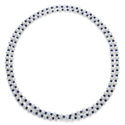 7-7.5mm White Cultured Freshwater Pearl With 4-5mm Blue Sapphire Gemstone
